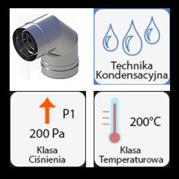 Powietrzno spalinowy wkład kominowy nadciśnieniowy kondensacyjny kwasoodporne gr. 0,5 mm Białe